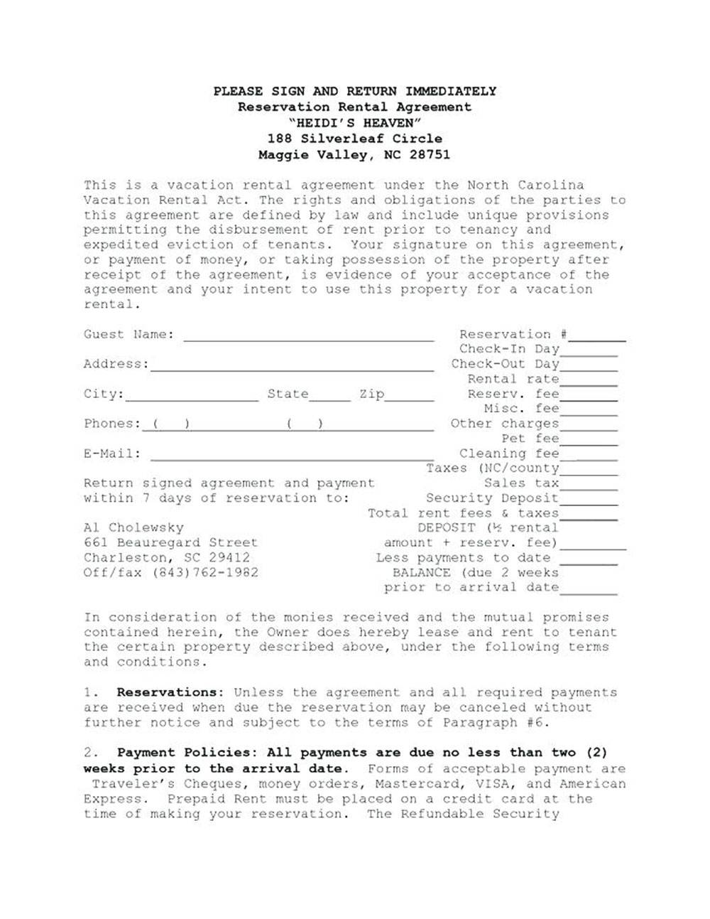 House Rental Agreements Templates