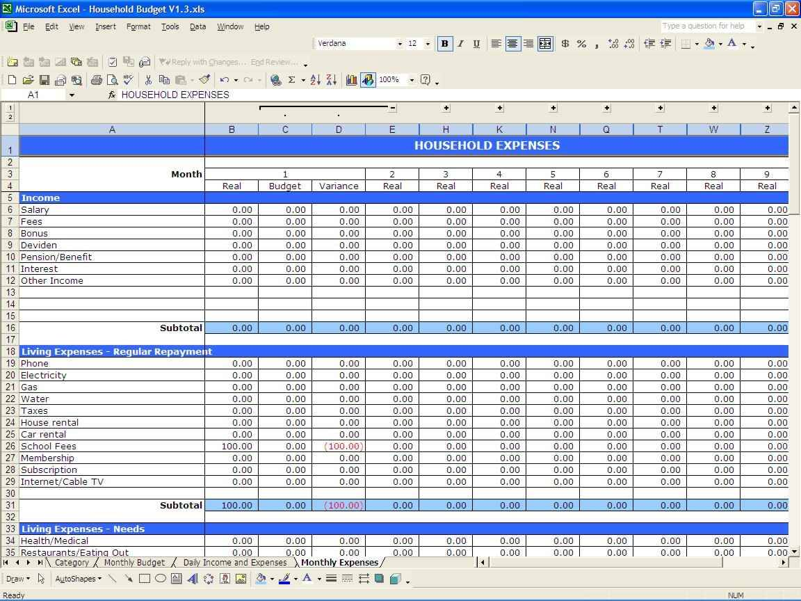 Household Budget Spreadsheet Template Uk