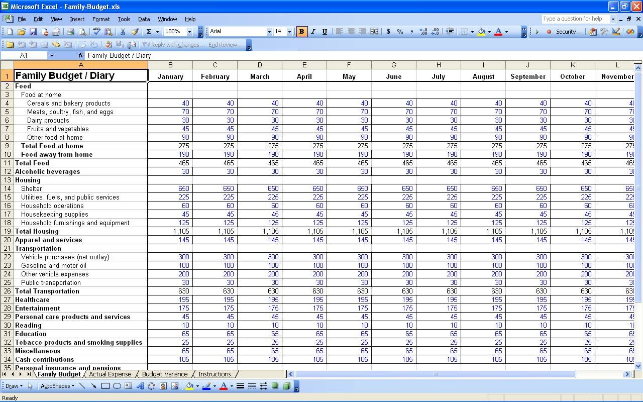 Household Budget Worksheet Excel Template