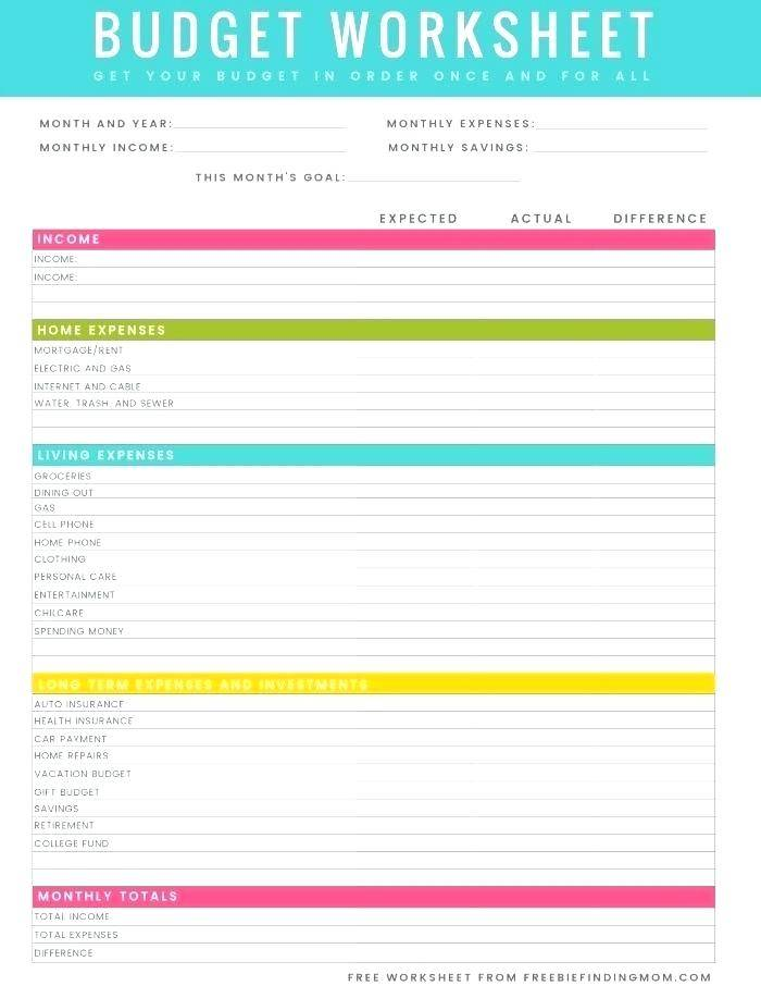 Household Expenses Template Printable