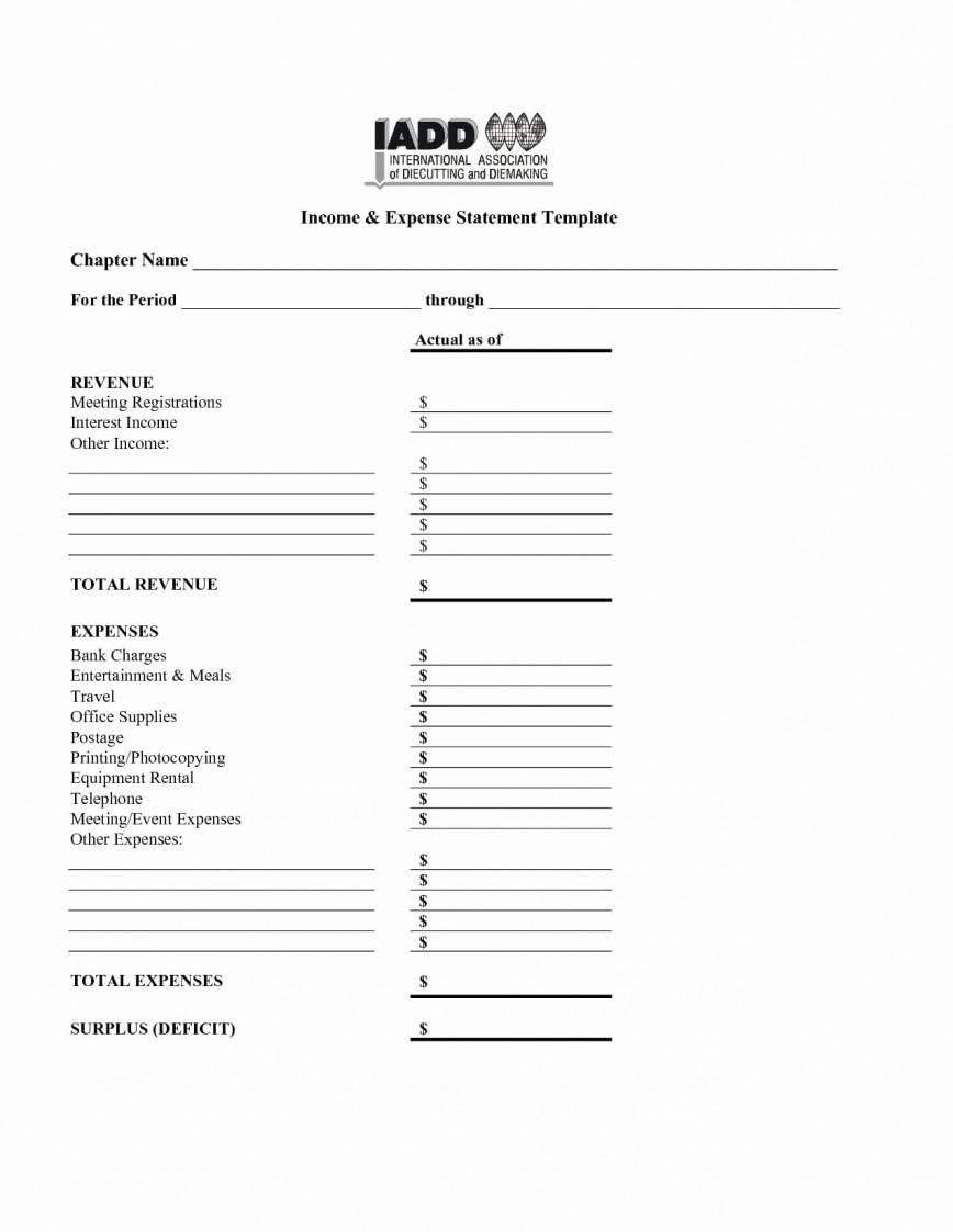 Household Income Expense Statement Template