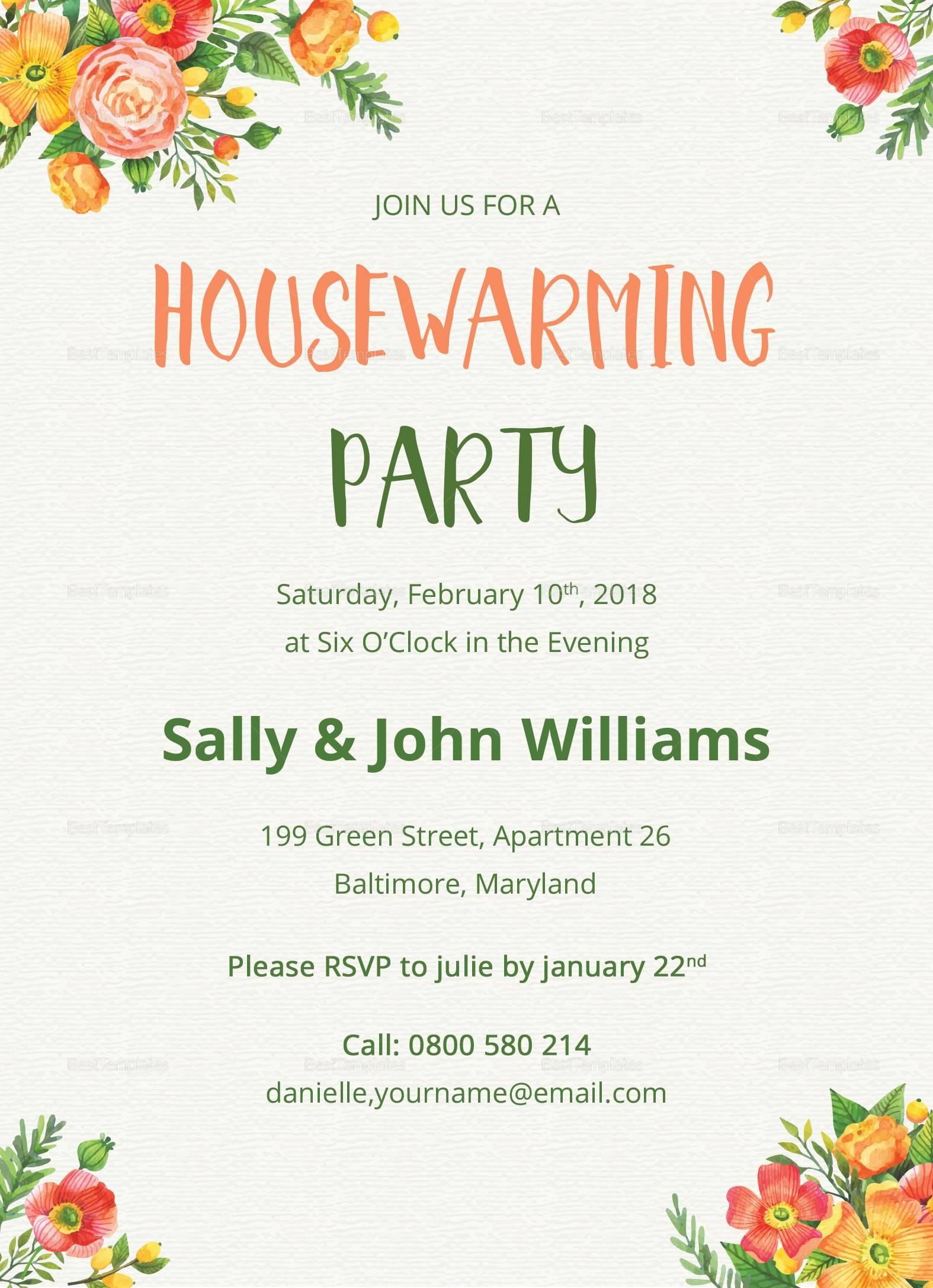 Housewarming Invitation Template Psd