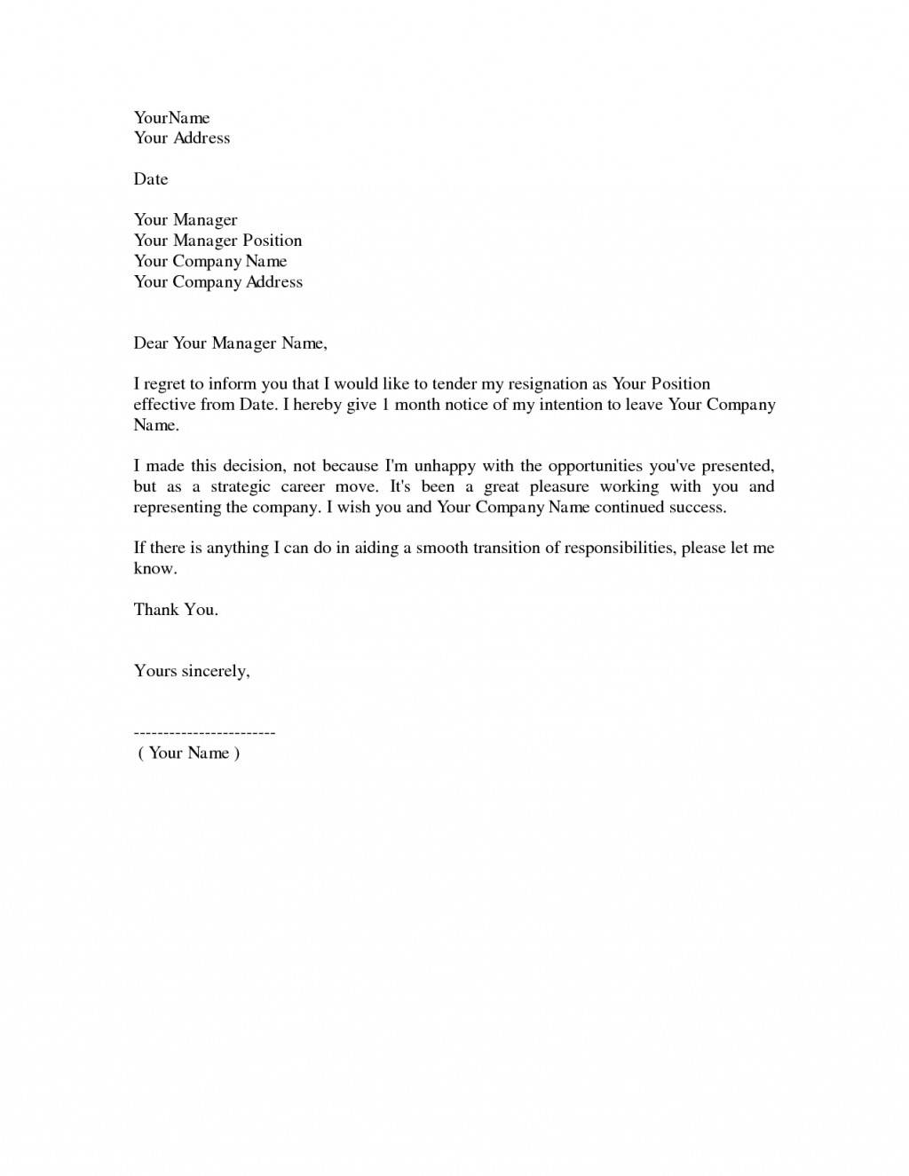 How To Write A Resignation Letter Template