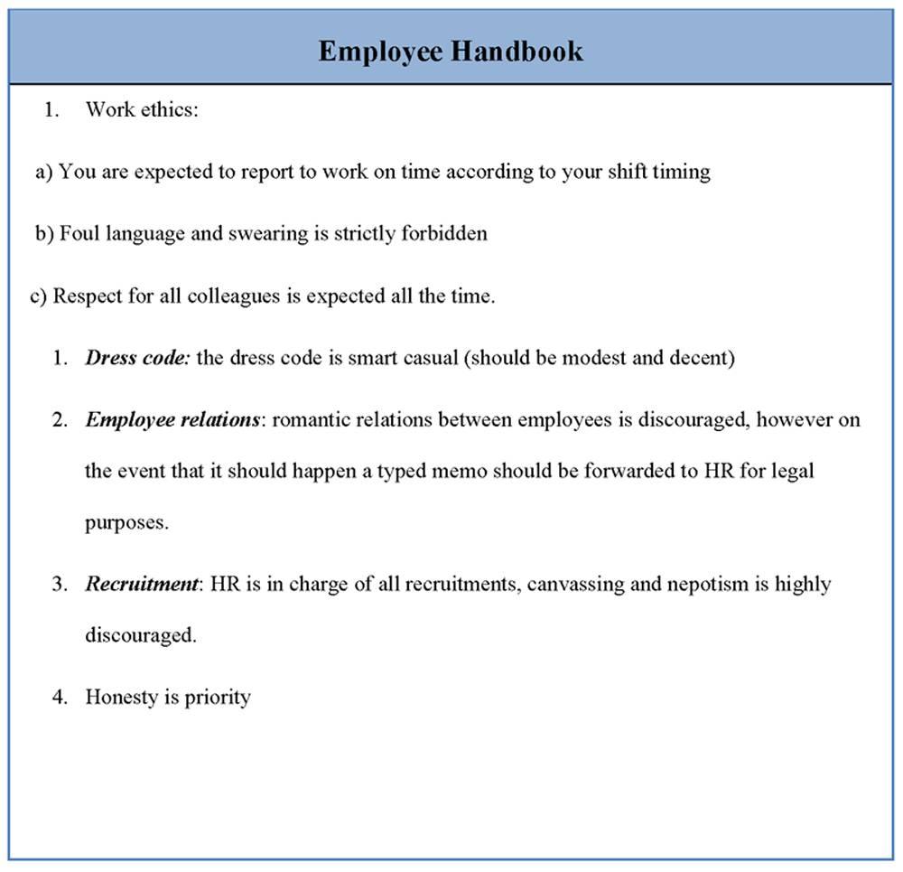 Hr Employee Handbook Template