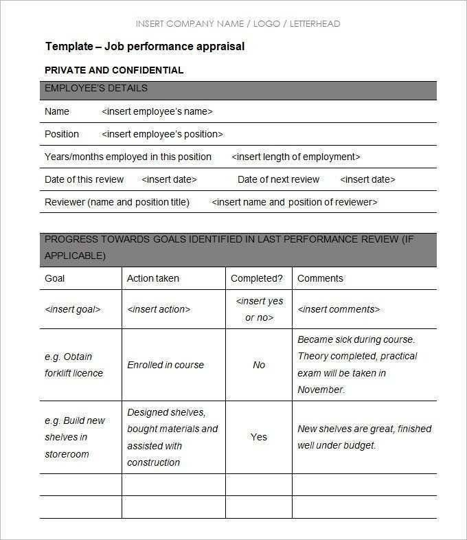 Hr Performance Review Template