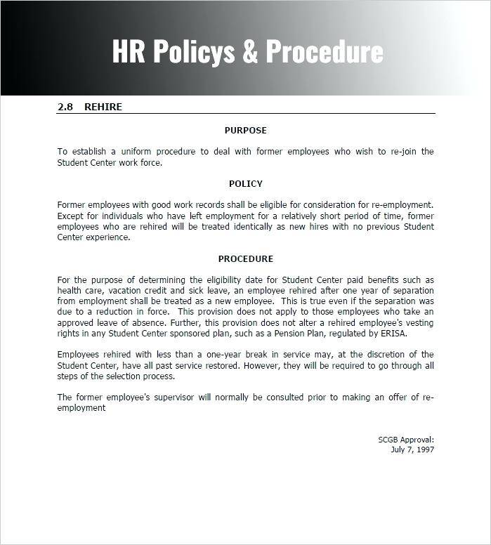 Hr Policy And Procedure Manual Template Nsw