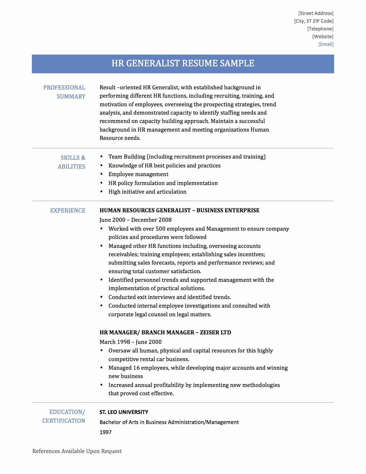 Human Resource Generalist Resume Template