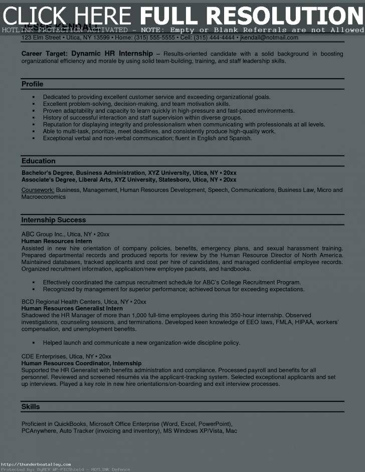 Human Resource Internship Resume Template