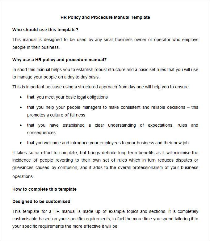 Human Resources Policies And Procedures Template