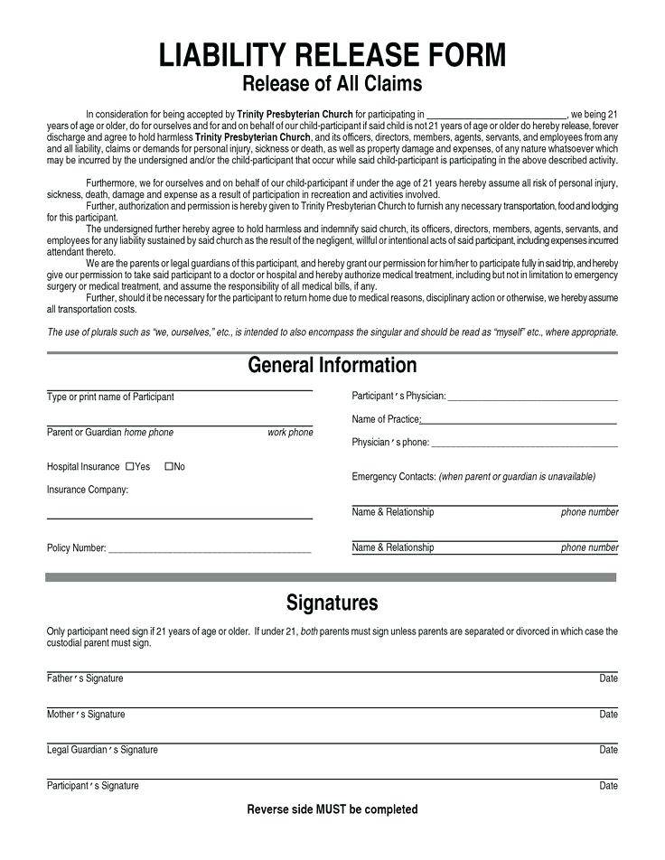 Hunting Release Of Liability Form Template