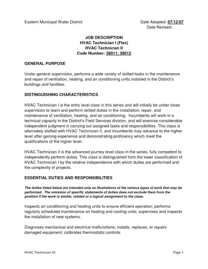 Hvac Job Description Resume