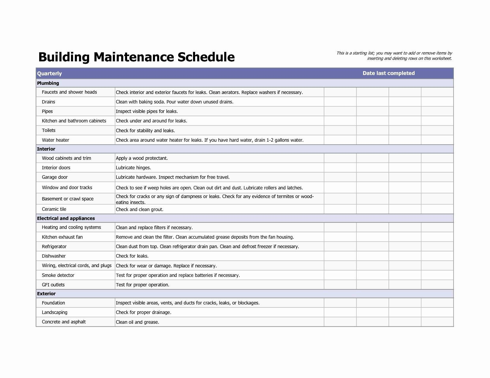 Hvac Preventive Maintenance Schedule Template