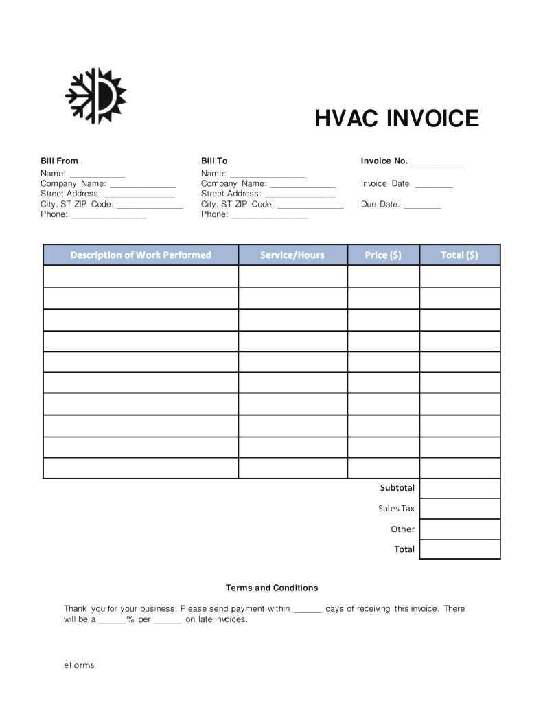 Hvac Work Order Template Free