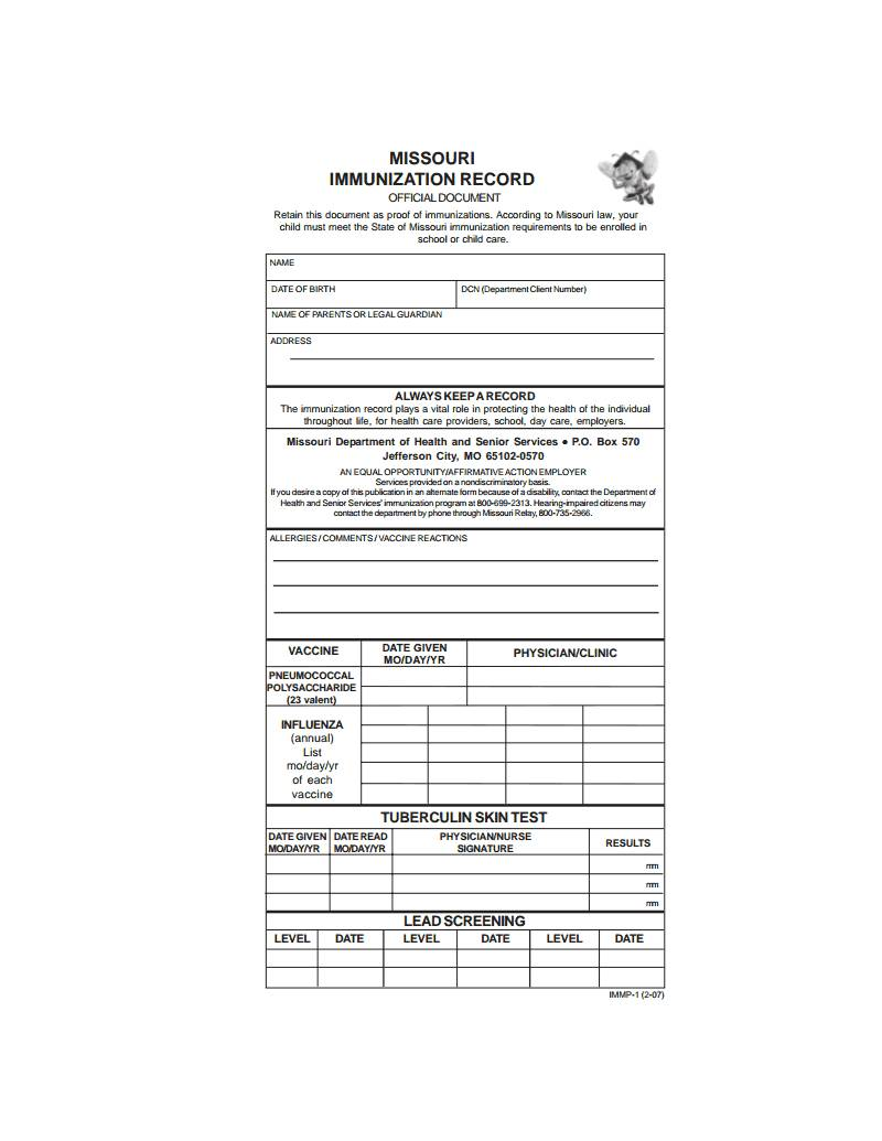 Immunization Record Forms