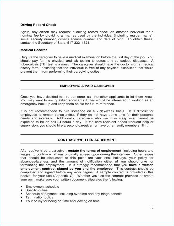 In Home Caregiver Contract Template