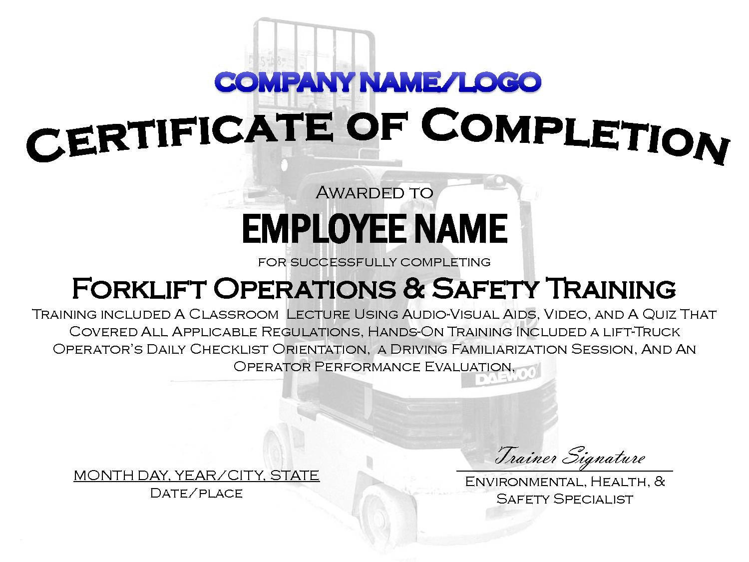 In House Forklift Certificate Template