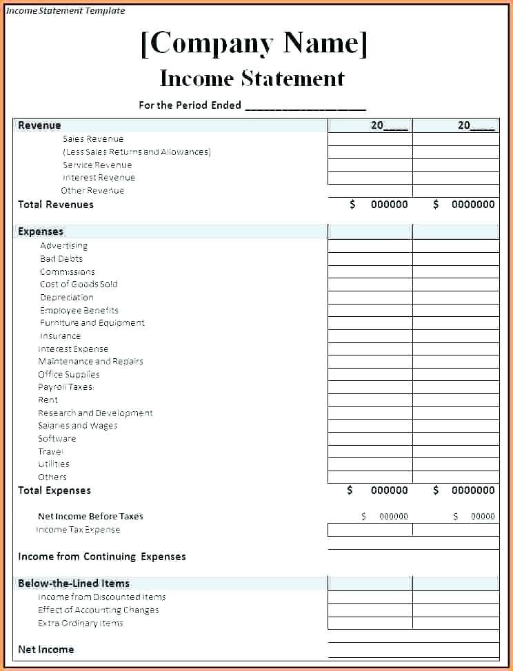 Income And Expense Statement Template Download
