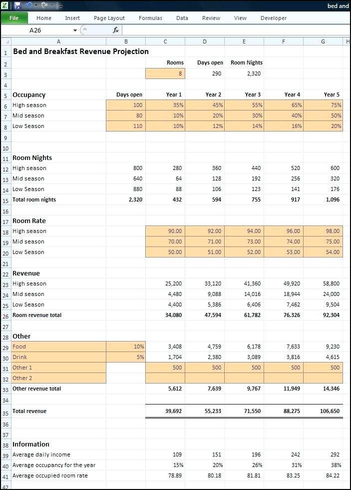 Income Projection Template