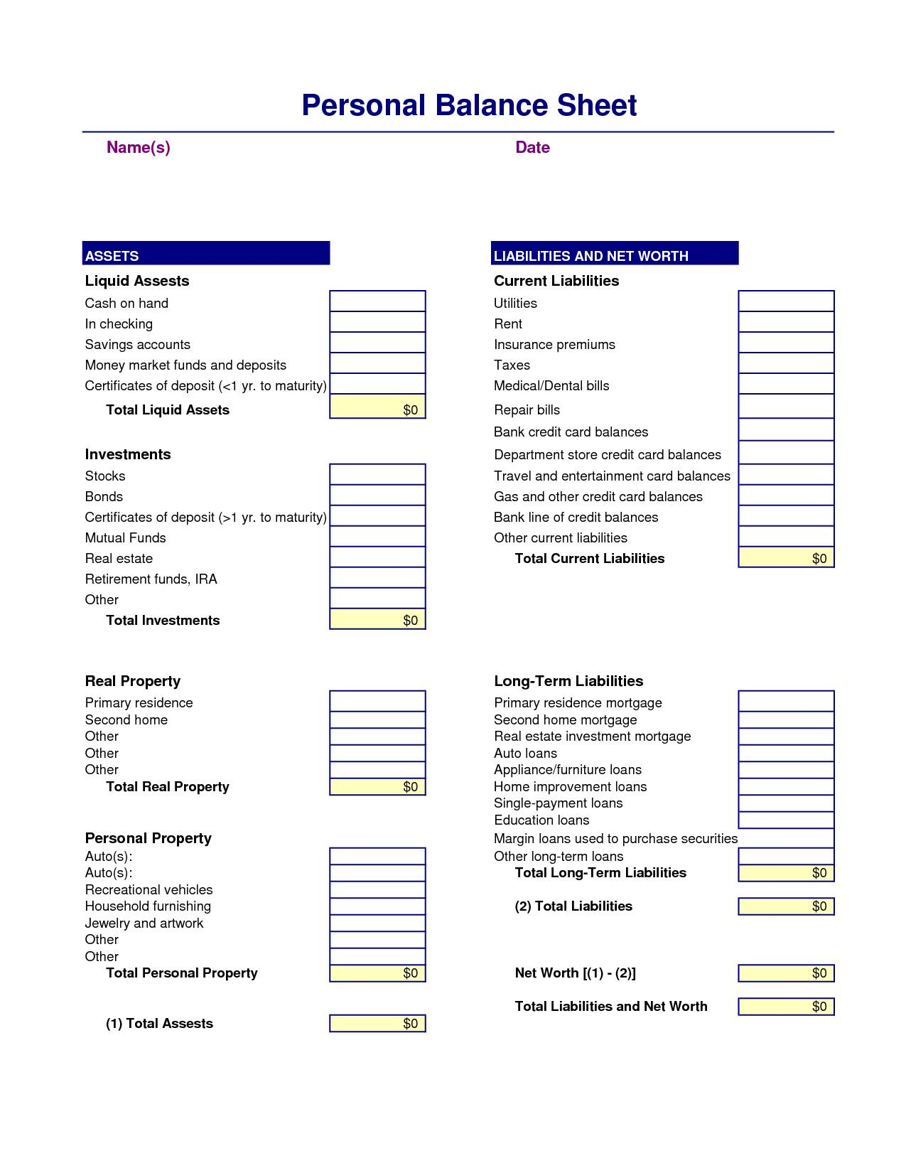 Income Statement And Balance Sheet Template Download