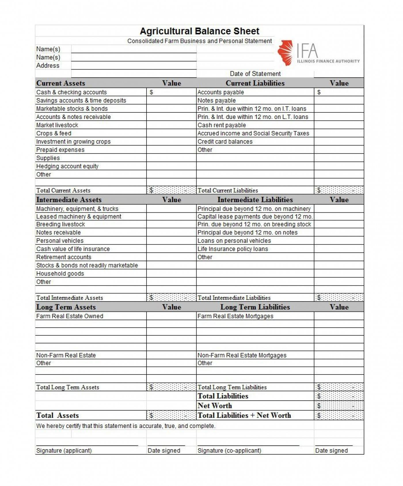 Income Statement Balance Sheet Template