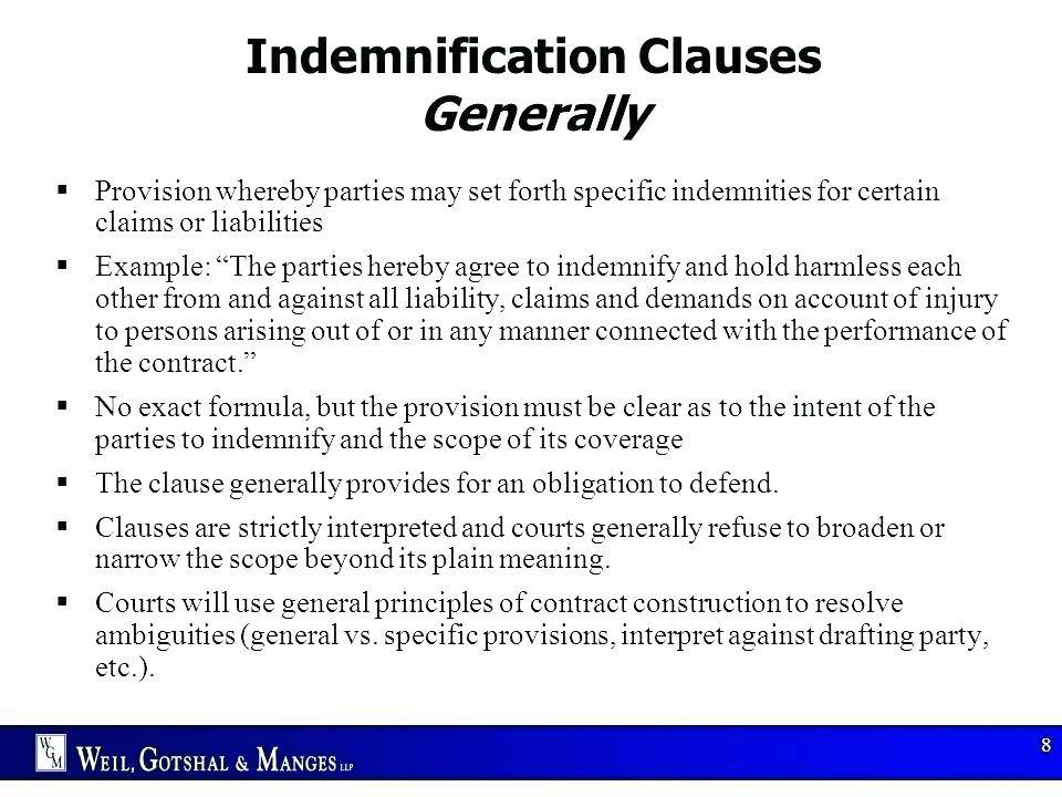 Indemnity Clause Agreement