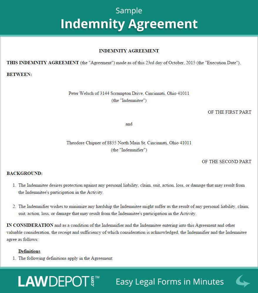 Indemnity Form Template For Employees
