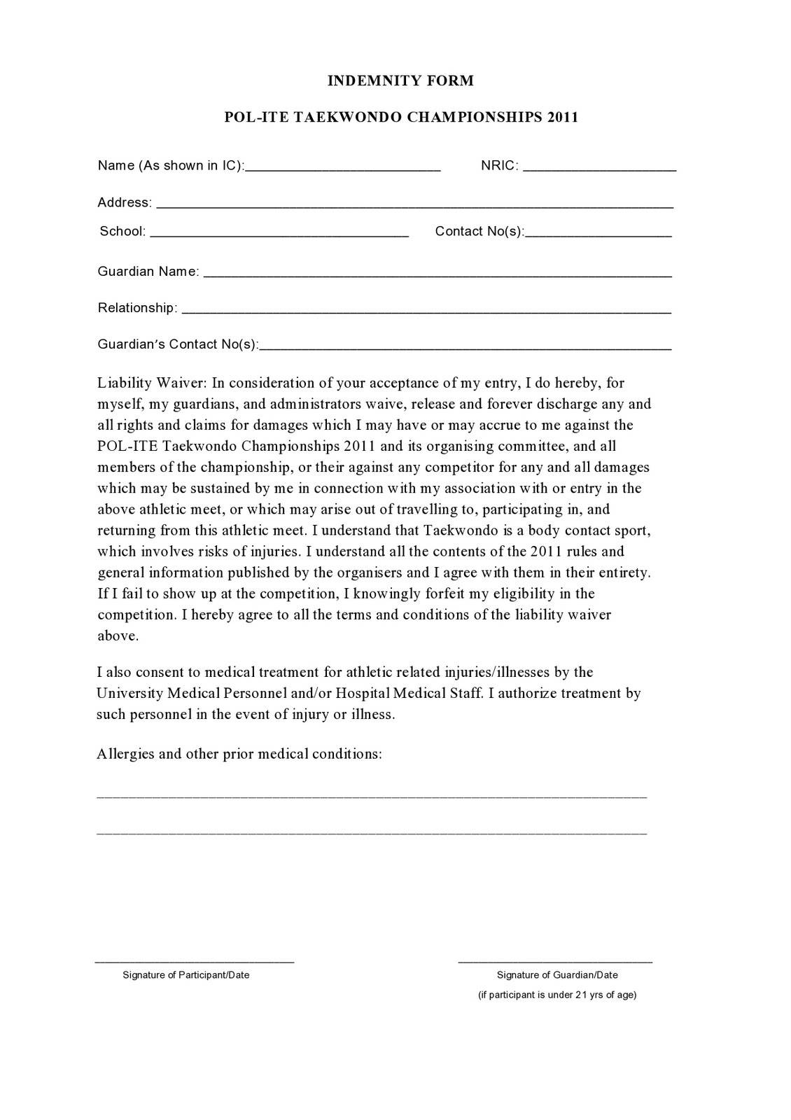 Indemnity Form Template Pdf