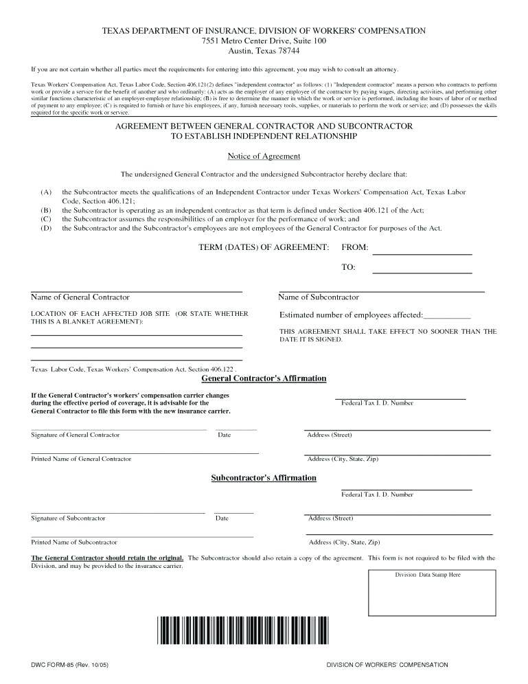 Independent Contract Format