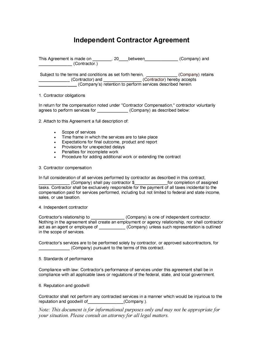 Independent Contract Template