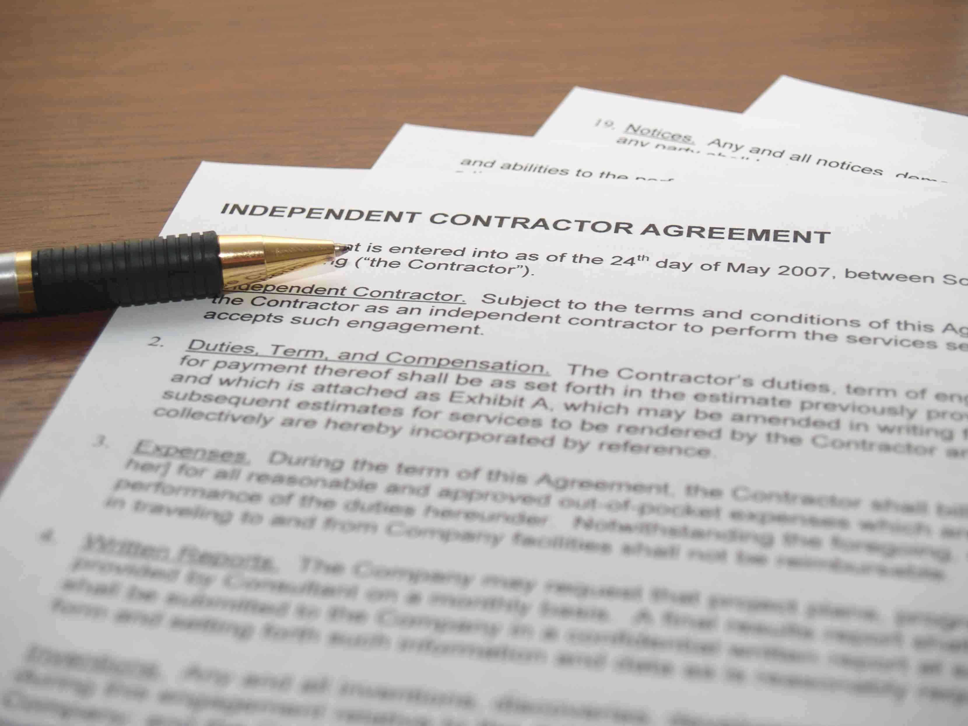 Independent Contractor Agreement Sample California