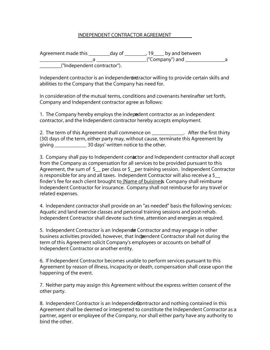 Independent Contractor Agreement Template Colorado