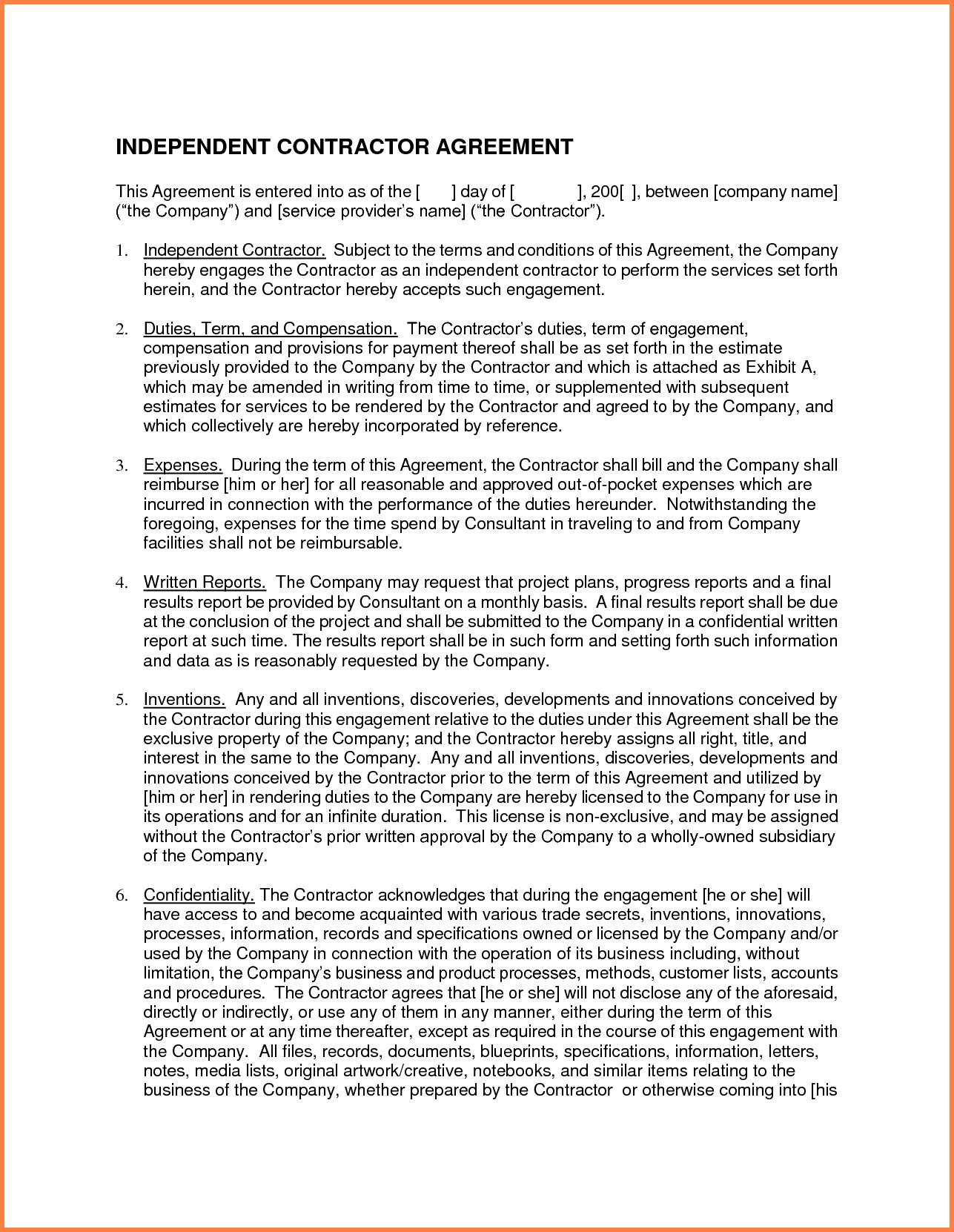 Independent Contractor Agreement Template New York