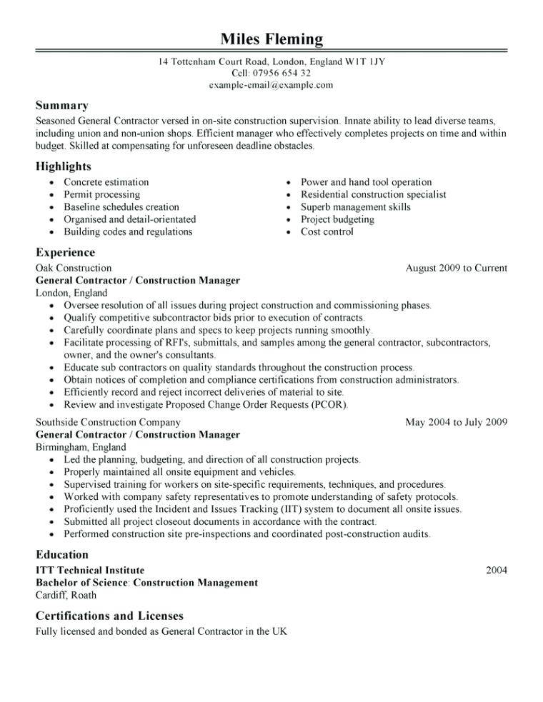Independent Contractor Resume Templates