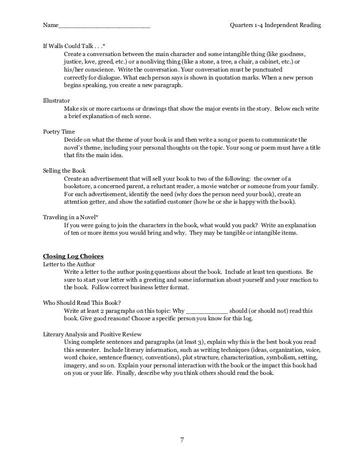 Independent Reading Contract Template