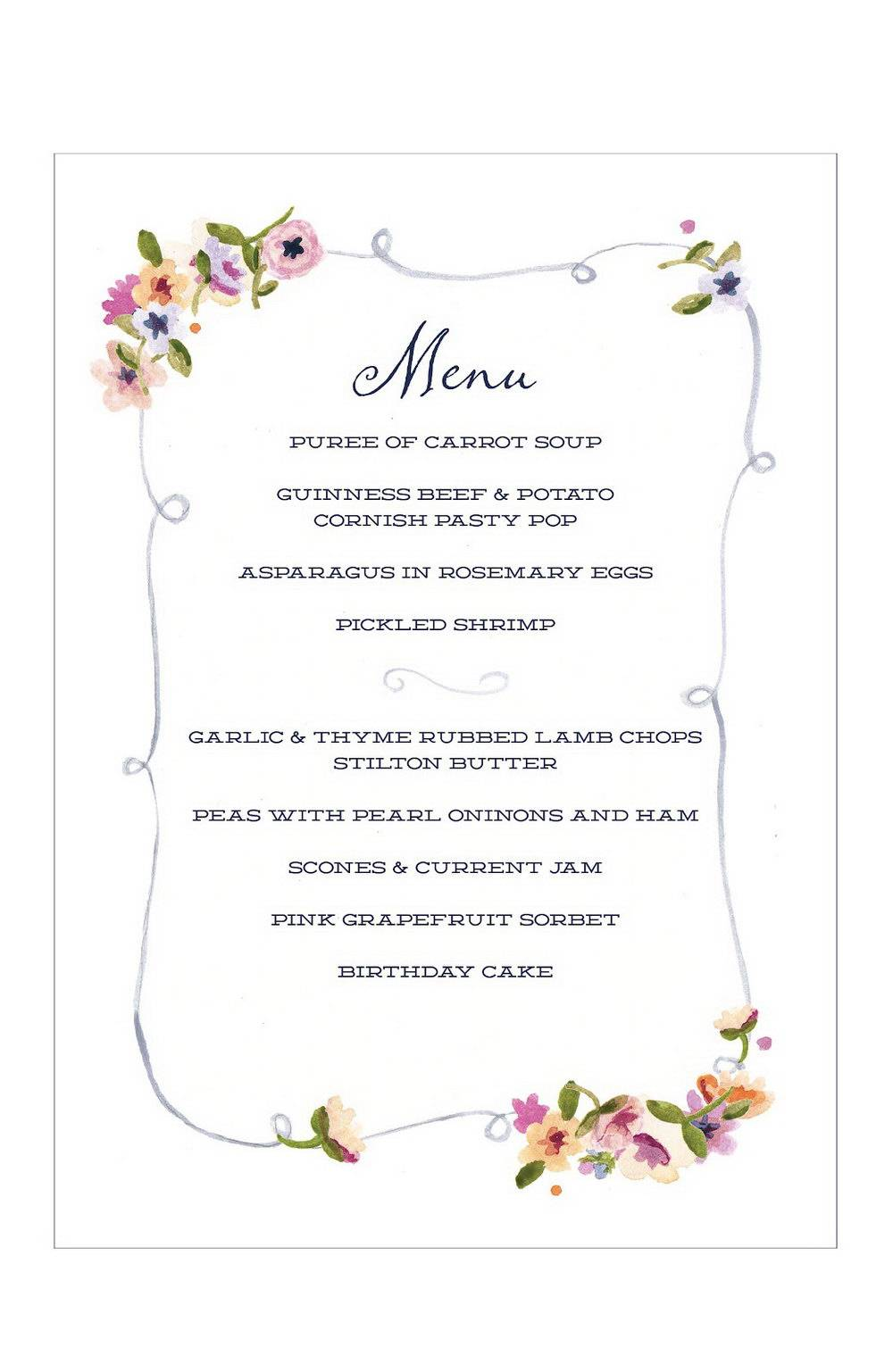Indian Dinner Party Menu Template
