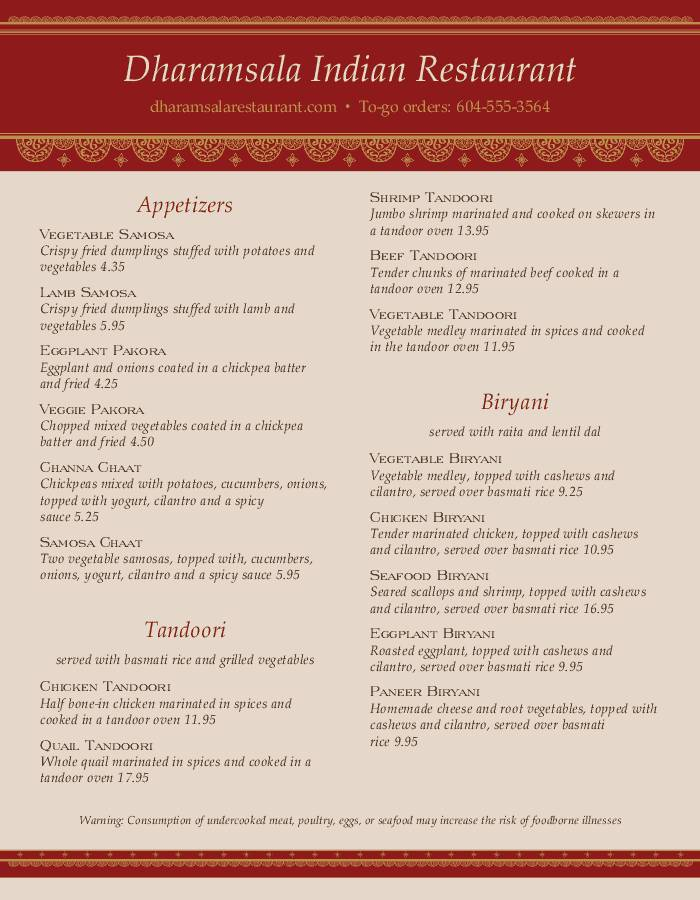 Indian Restaurant Menu Design Templates