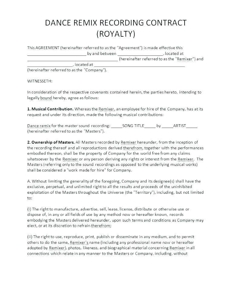 Indie Record Label Artist Contract Template
