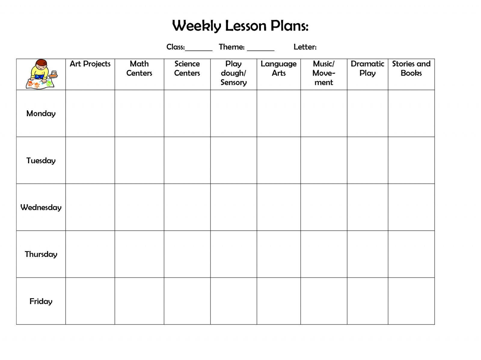 Infant Lesson Plan Template Download