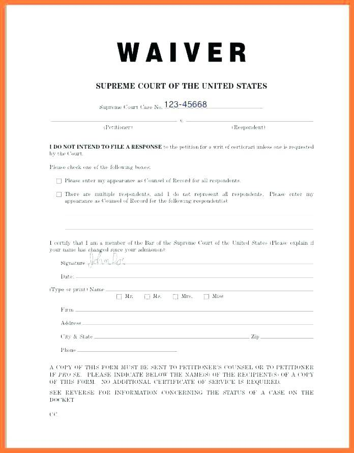 Injury Waiver Form Template Uk