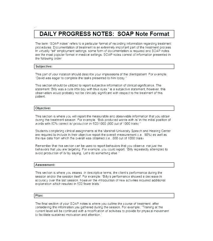 Inpatient Psychiatric Progress Note Template
