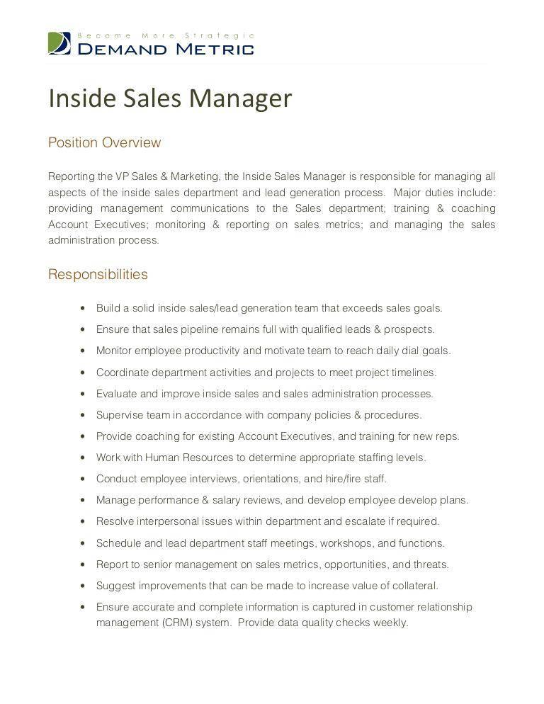 Inside Sales Manager Job Description Examples