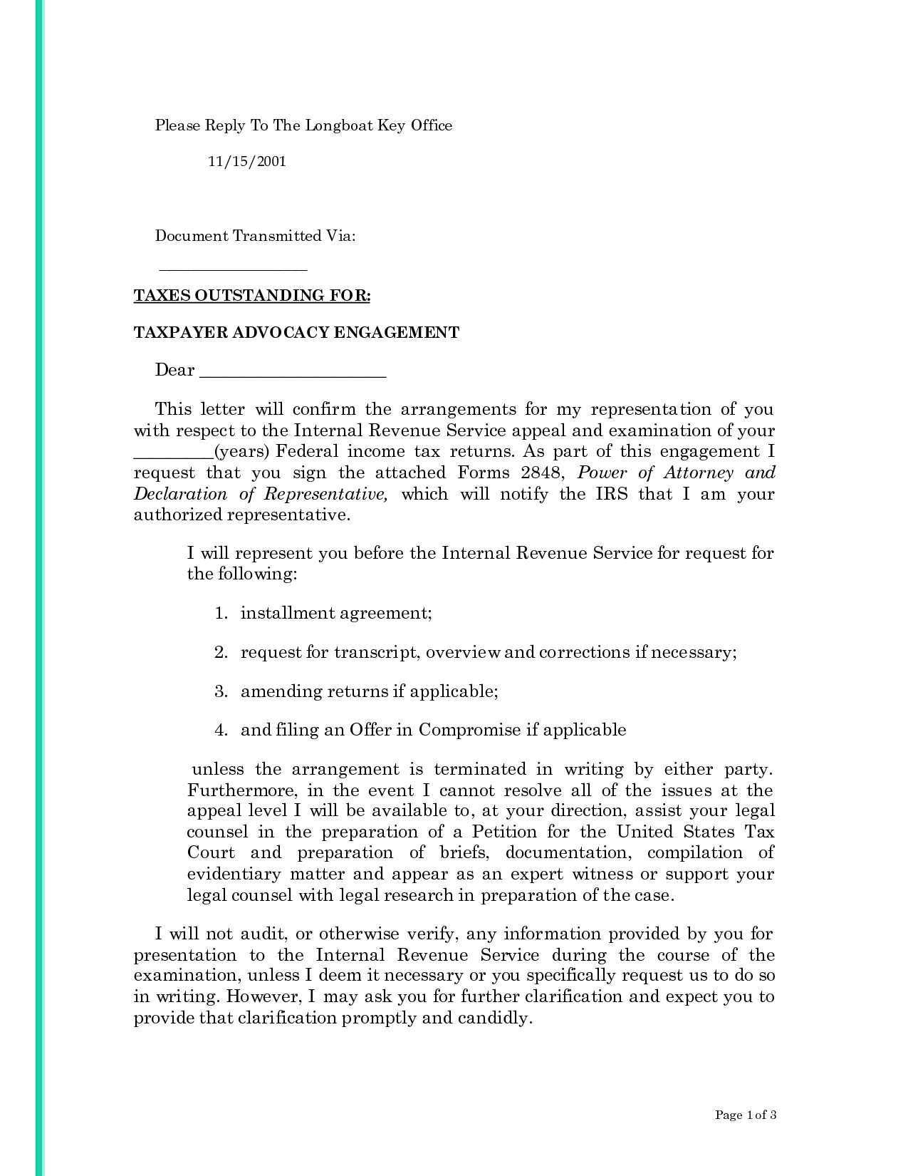 Installment Payment Agreement Letter Template