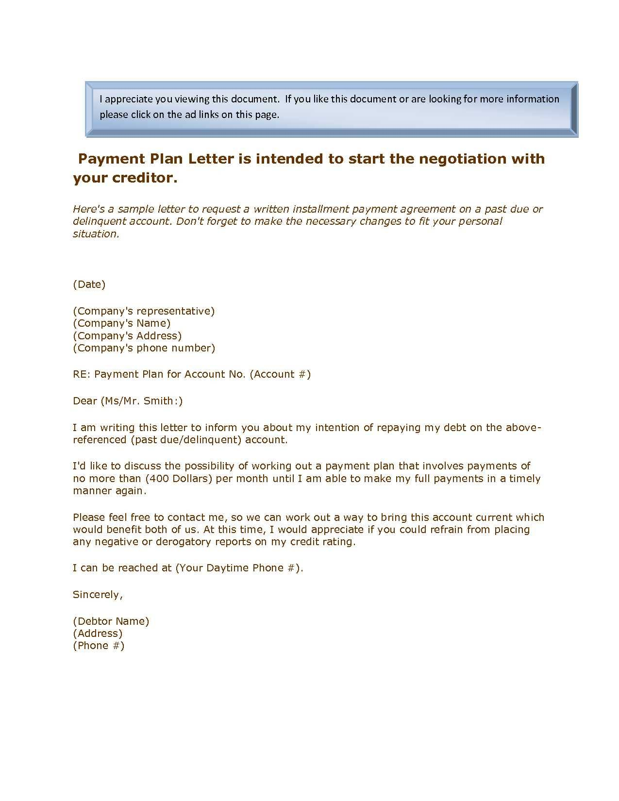 Installment Payment Agreement Template Doc