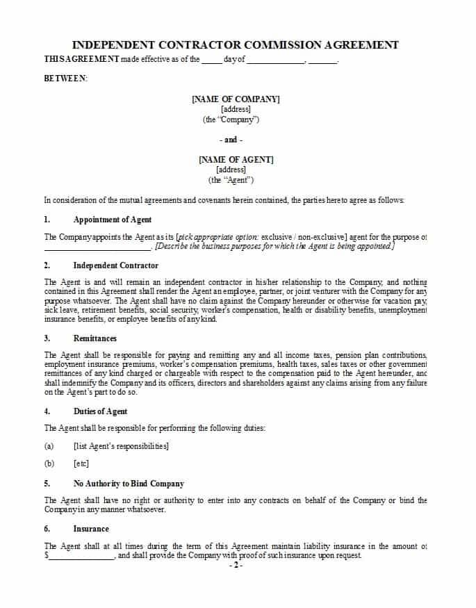 Insurance Commission Sharing Agreement Template