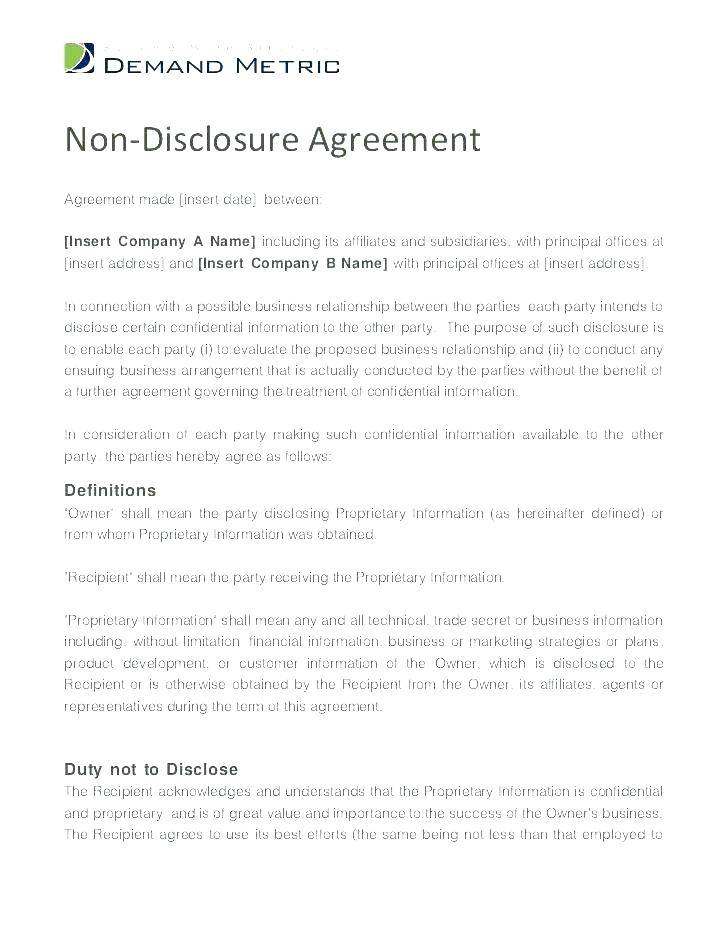 Intellectual Property Non Disclosure Agreement Template