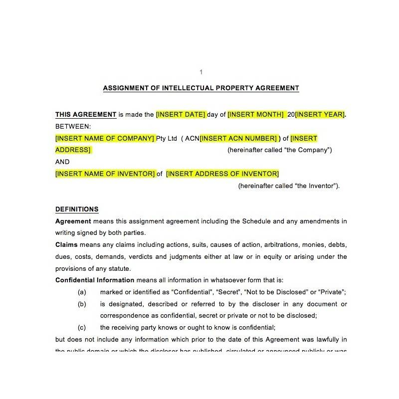 Intellectual Property Ownership Agreement Template