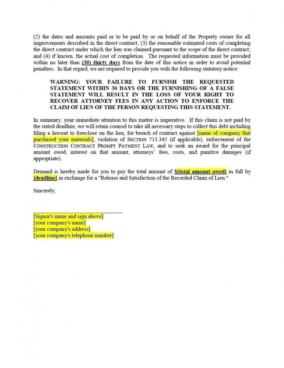 Intent To Lien Letter Template Texas