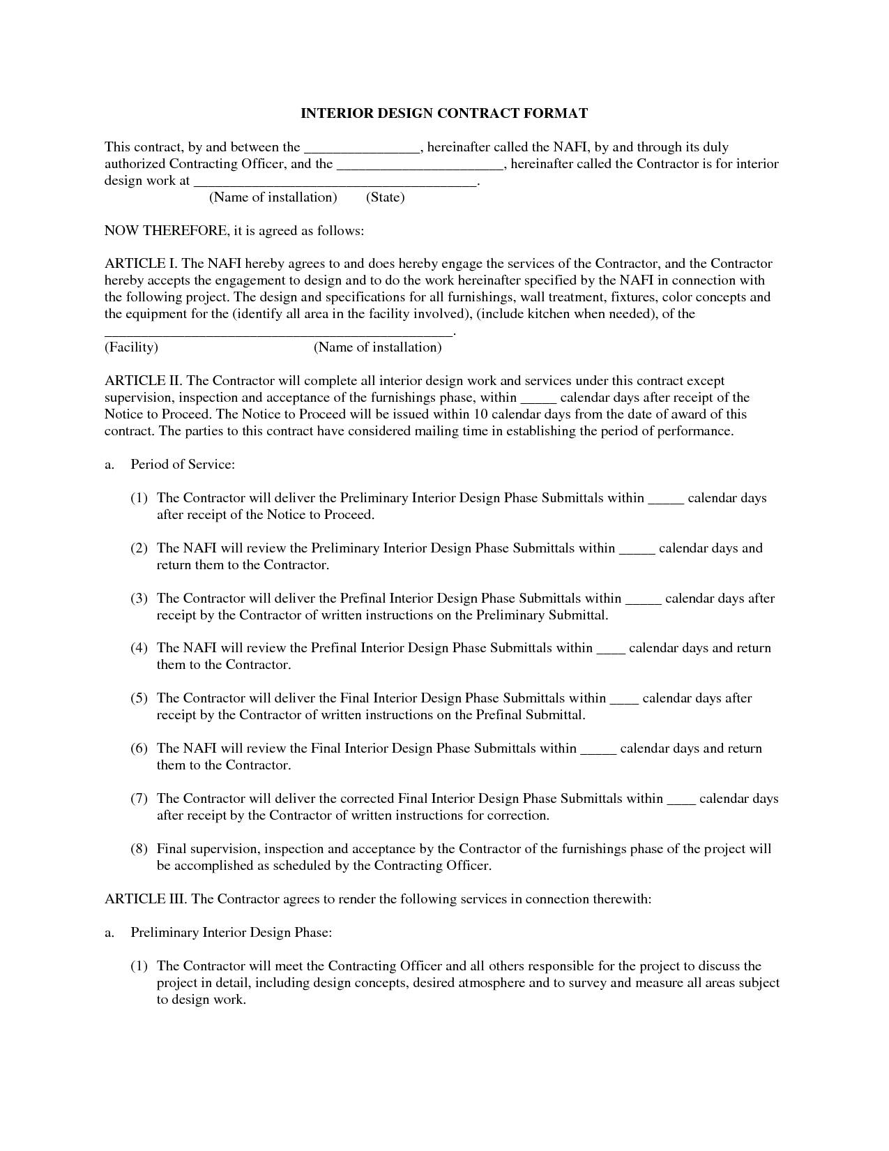 Interior Design Contract Agreement Template