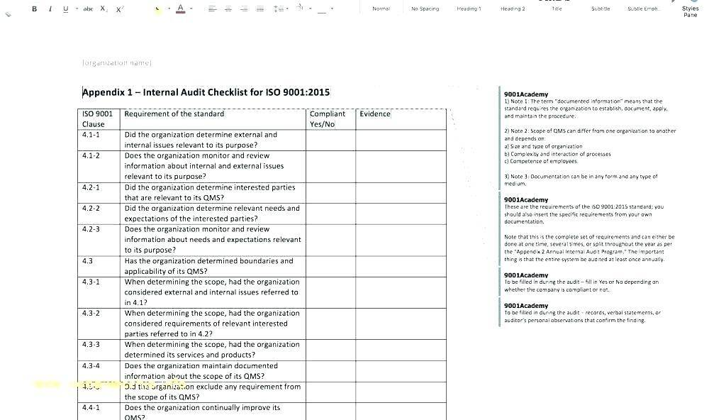 Internal Audit Agenda Template