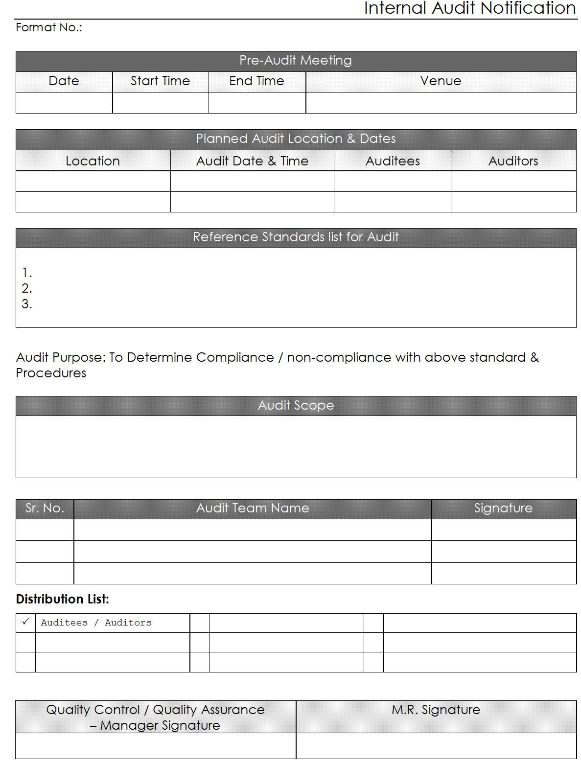 Internal Audit Schedule Template Iso 22000
